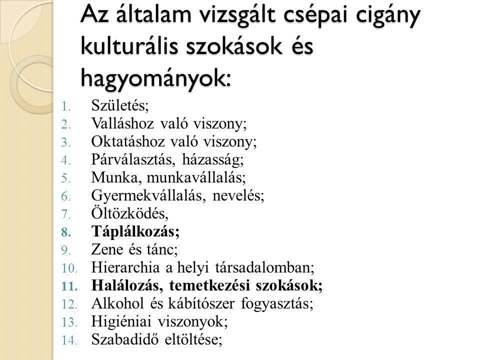Az általam vizsgált csépai cigány kulturális szokások és hagyományok: 1.