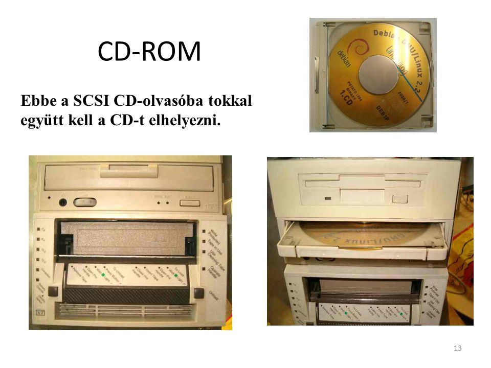 13 CD-ROM Ebbe a SCSI CD-olvasóba tokkal együtt kell a CD-t elhelyezni.