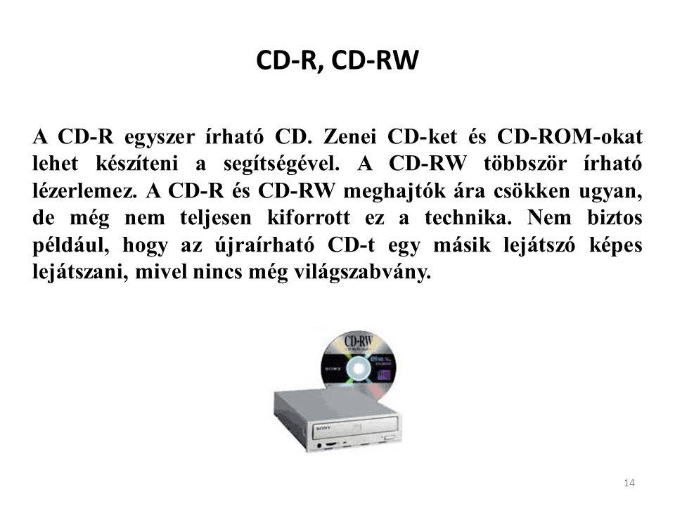 14 CD-R, CD-RW A CD-R egyszer írható CD.