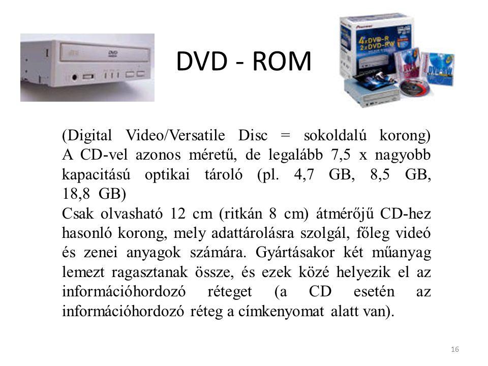 16 DVD - ROM (Digital Video/Versatile Disc = sokoldalú korong) A CD-vel azonos méretű, de legalább 7,5 x nagyobb kapacitású optikai tároló (pl.