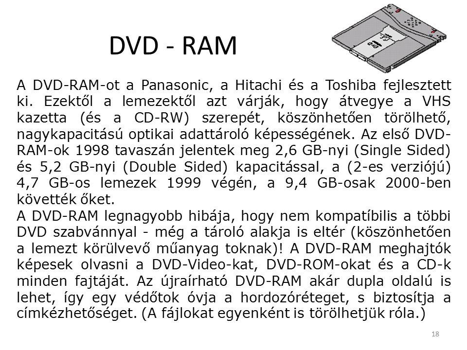 18 DVD - RAM A DVD-RAM-ot a Panasonic, a Hitachi és a Toshiba fejlesztett ki.