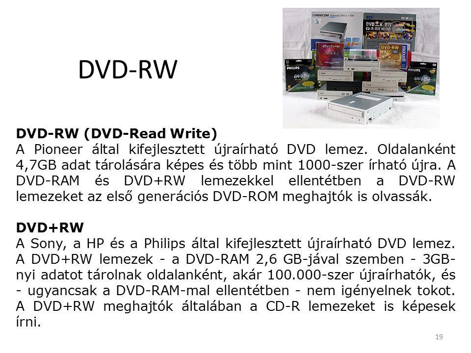 19 DVD-RW DVD-RW (DVD-Read Write) A Pioneer által kifejlesztett újraírható DVD lemez.