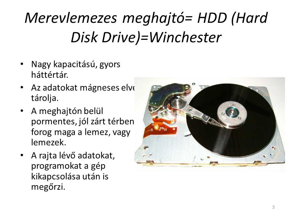 3 Merevlemezes meghajtó= HDD (Hard Disk Drive)=Winchester Nagy kapacitású, gyors háttértár.