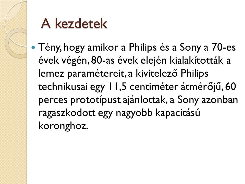 A kezdetek Tény, hogy amikor a Philips és a Sony a 70-es évek végén, 80-as évek elején kialakították a lemez paramétereit, a kivitelező Philips technikusai egy 11,5 centiméter átmérőjű, 60 perces prototípust ajánlottak, a Sony azonban ragaszkodott egy nagyobb kapacitású koronghoz.