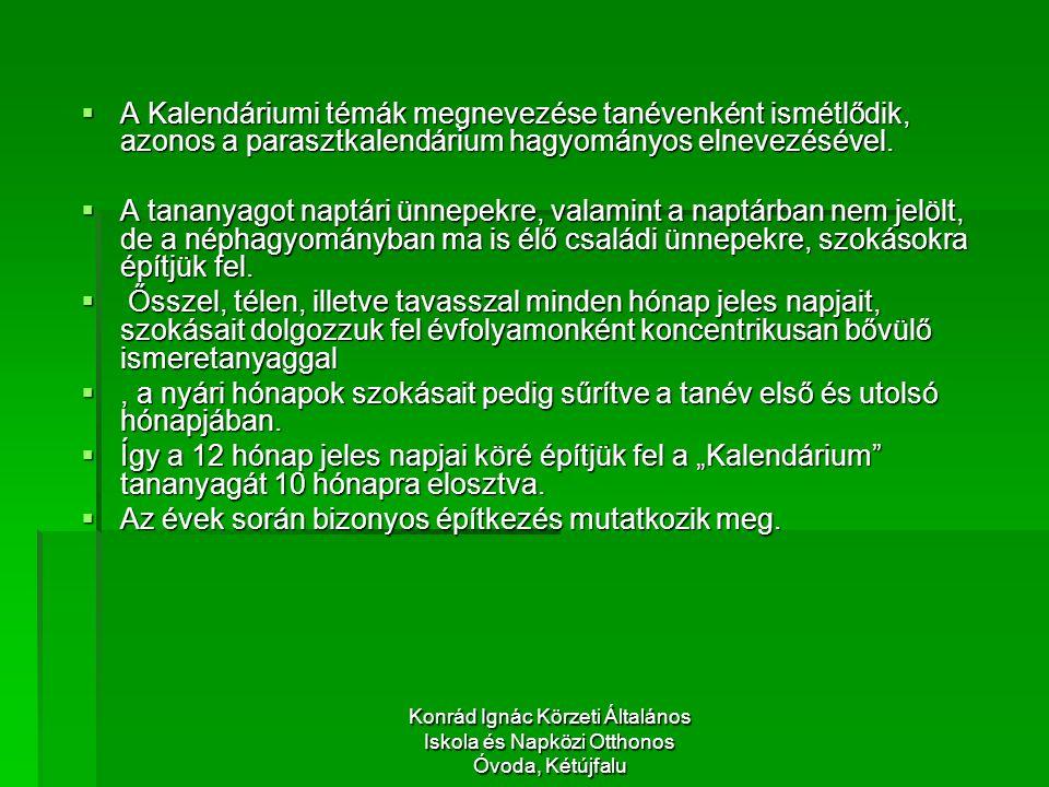 Konrád Ignác Körzeti Általános Iskola és Napközi Otthonos Óvoda, Kétújfalu  A Kalendáriumi témák megnevezése tanévenként ismétlődik, azonos a parasztkalendárium hagyományos elnevezésével.