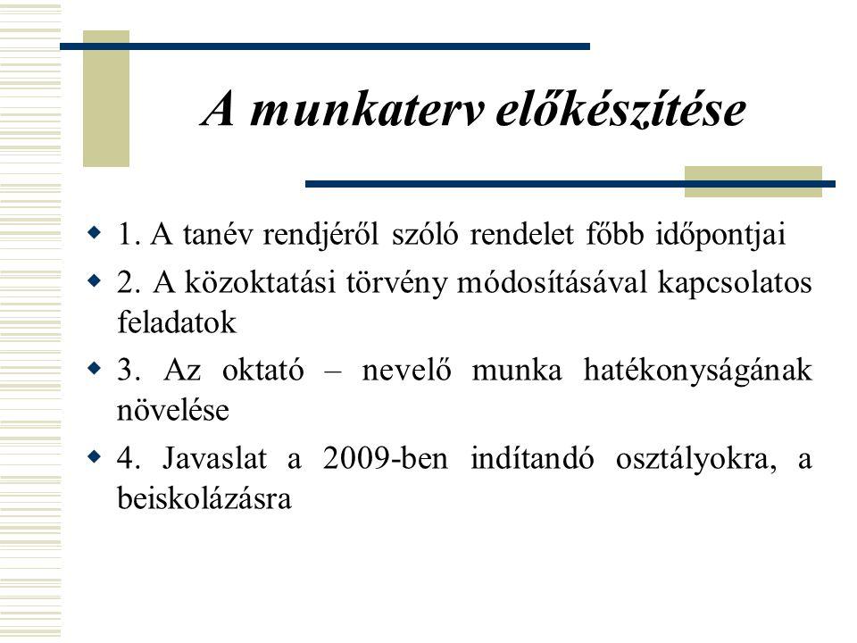A munkaterv előkészítése  1. A tanév rendjéről szóló rendelet főbb időpontjai  2.