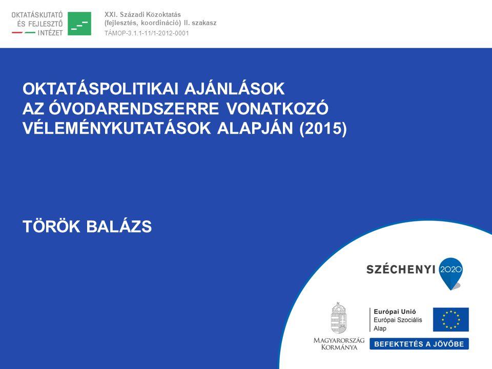 XXI. Századi Közoktatás (fejlesztés, koordináció) II. szakasz TÁMOP-3.1.1-11/1-2012-0001 OKTATÁSPOLITIKAI AJÁNLÁSOK AZ ÓVODARENDSZERRE VONATKOZÓ VÉLEM
