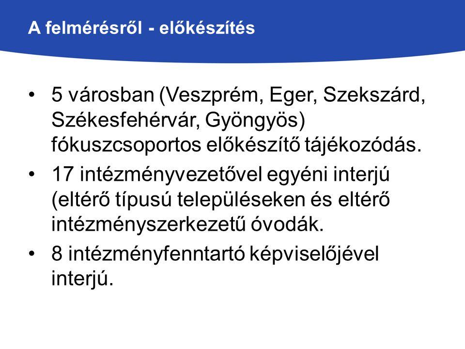 A felmérésről - előkészítés 5 városban (Veszprém, Eger, Szekszárd, Székesfehérvár, Gyöngyös) fókuszcsoportos előkészítő tájékozódás. 17 intézményvezet