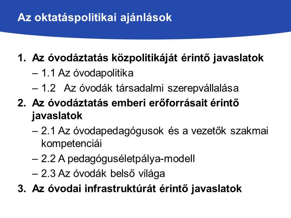 Az oktatáspolitikai ajánlások 1.Az óvodáztatás közpolitikáját érintő javaslatok –1.1 Az óvodapolitika –1.2 Az óvodák társadalmi szerepvállalása 2.Az ó