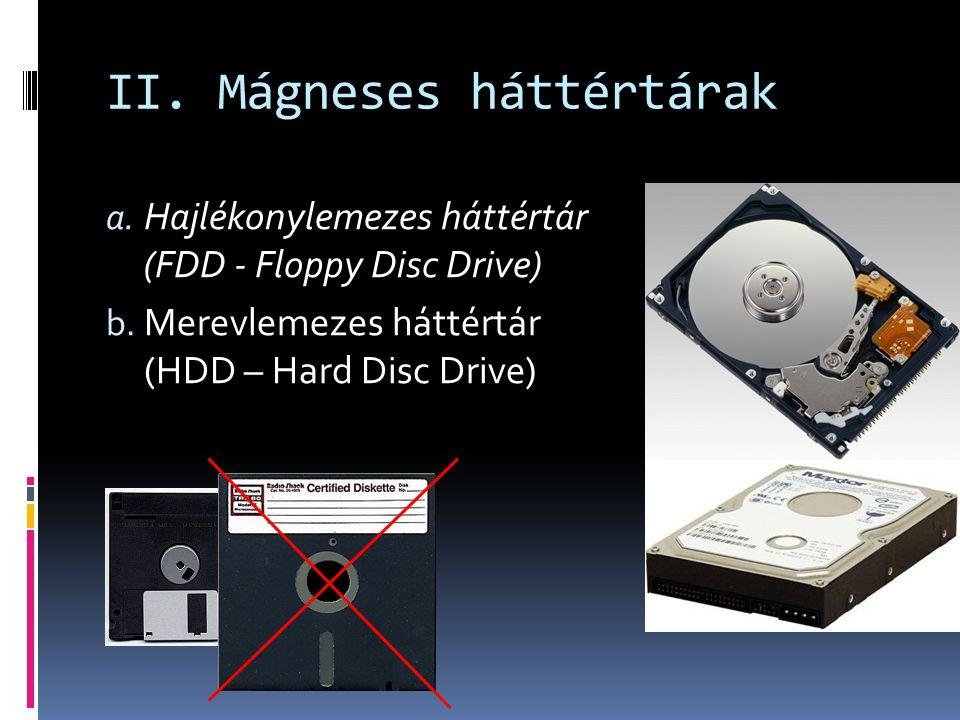 II. Mágneses háttértárak a. Hajlékonylemezes háttértár (FDD - Floppy Disc Drive) b.