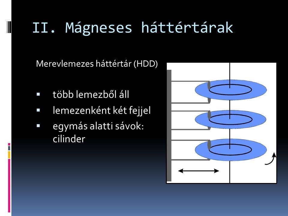 II. Mágneses háttértárak Merevlemezes háttértár (HDD)  több lemezből áll  lemezenként két fejjel  egymás alatti sávok: cilinder