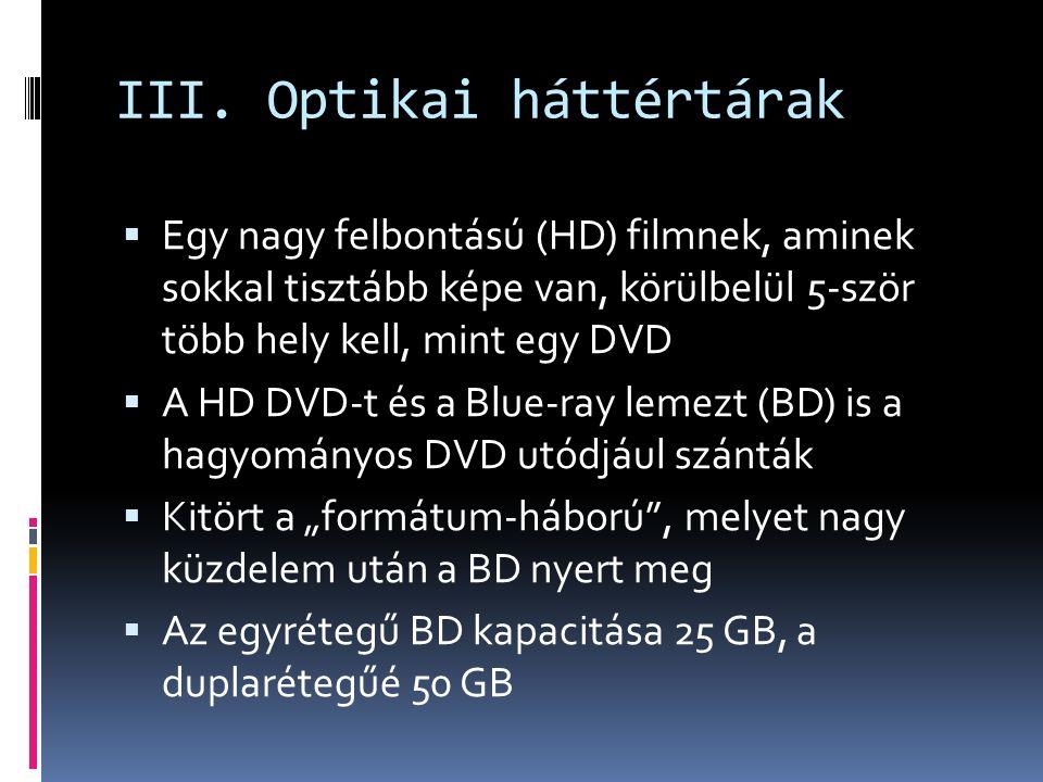 III. Optikai háttértárak  Egy nagy felbontású (HD) filmnek, aminek sokkal tisztább képe van, körülbelül 5-ször több hely kell, mint egy DVD  A HD DV