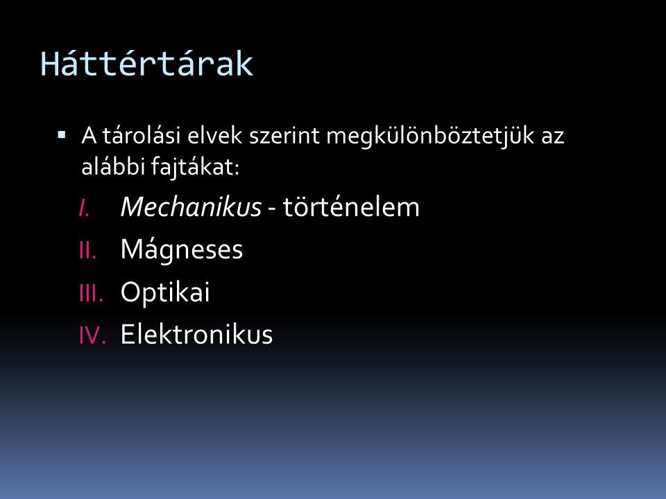 Háttértárak  A tárolási elvek szerint megkülönböztetjük az alábbi fajtákat: I.