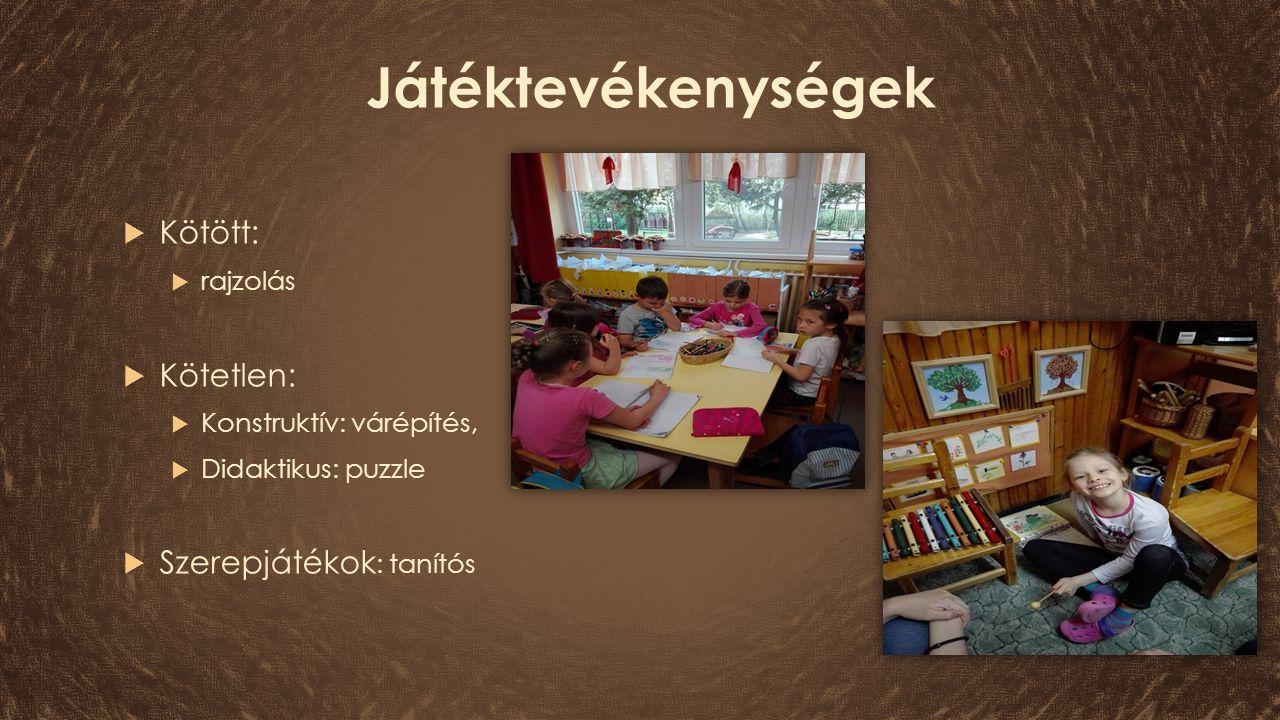 Játéktevékenységek  Kötött:  rajzolás  Kötetlen:  Konstruktív: várépítés,  Didaktikus: puzzle  Szerepjátékok : tanítós