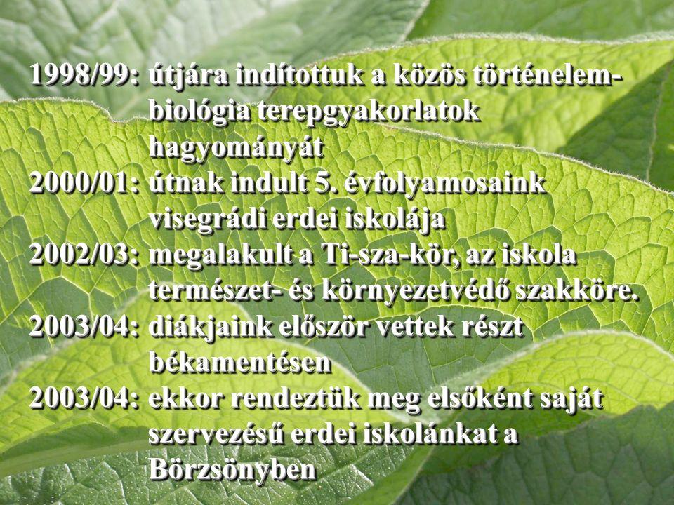 1998/99: útjára indítottuk a közös történelem- biológia terepgyakorlatok hagyományát 2000/01: útnak indult 5.