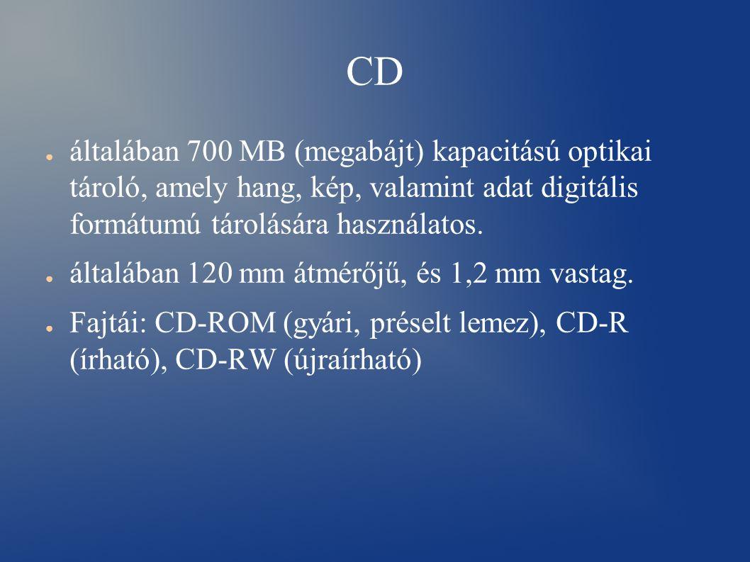 CD ● általában 700 MB (megabájt) kapacitású optikai tároló, amely hang, kép, valamint adat digitális formátumú tárolására használatos.