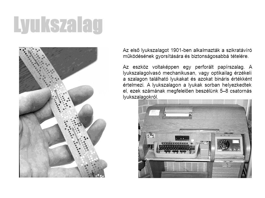 Lyukszalag Az első lyukszalagot 1901-ben alkalmazták a szikratávíró működésének gyorsítására és biztonságosabbá tételére.