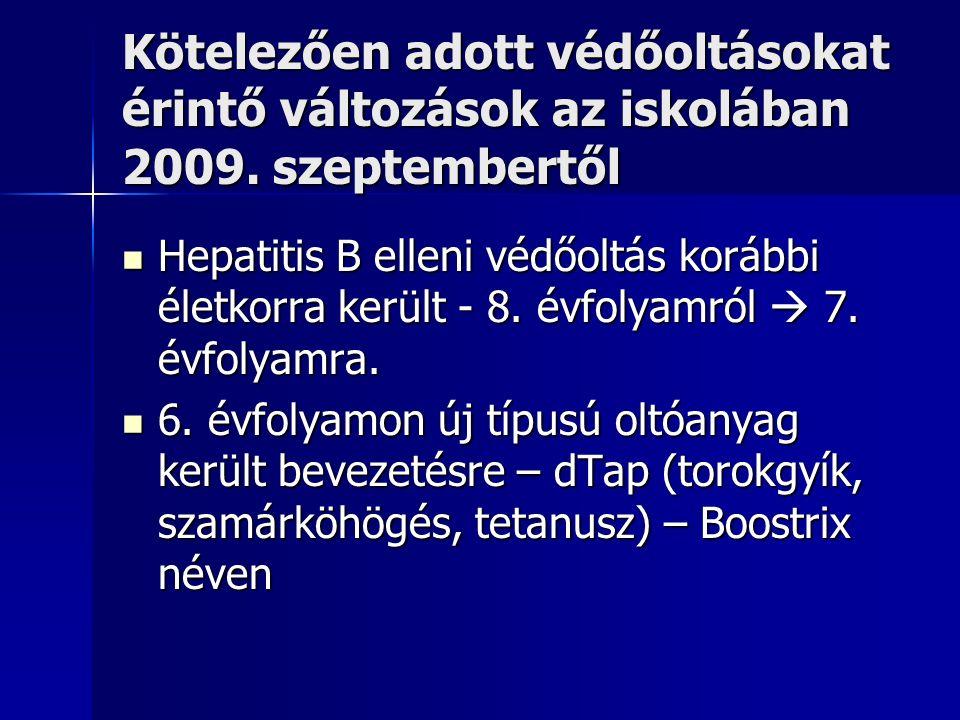 Kötelezően adott védőoltásokat érintő változások az iskolában 2009.