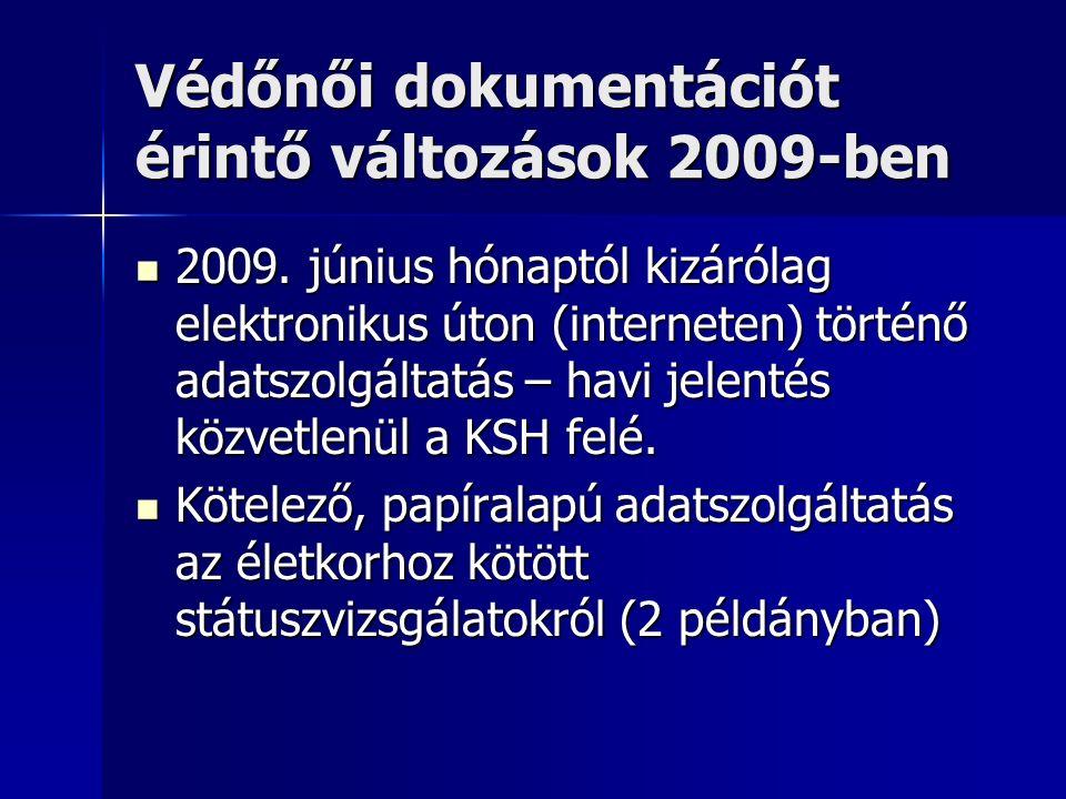 Védőnői dokumentációt érintő változások 2009-ben 2009.
