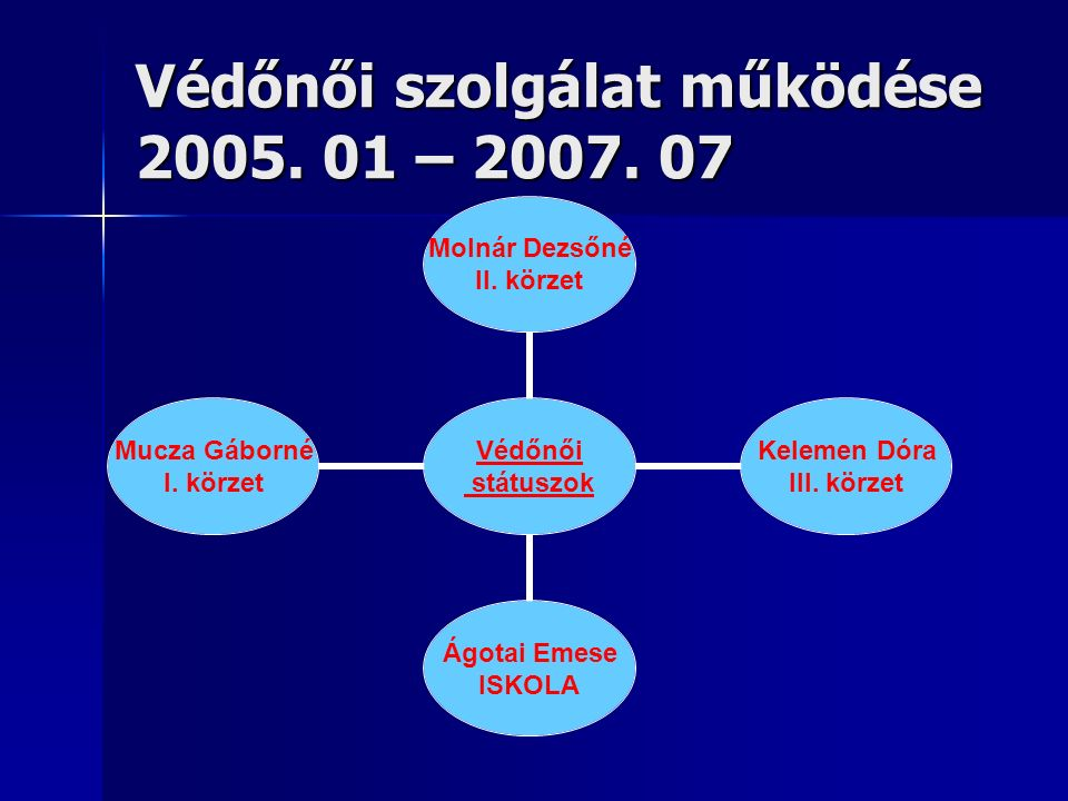 Védőnői szolgálat működése 2005. 01 – 2007. 07 Védőnői státuszok Molnár Dezsőné II.