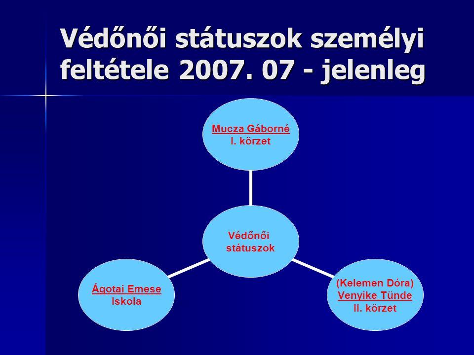 Védőnői státuszok személyi feltétele 2007. 07 - jelenleg Védőnői státuszok Mucza Gáborné I.