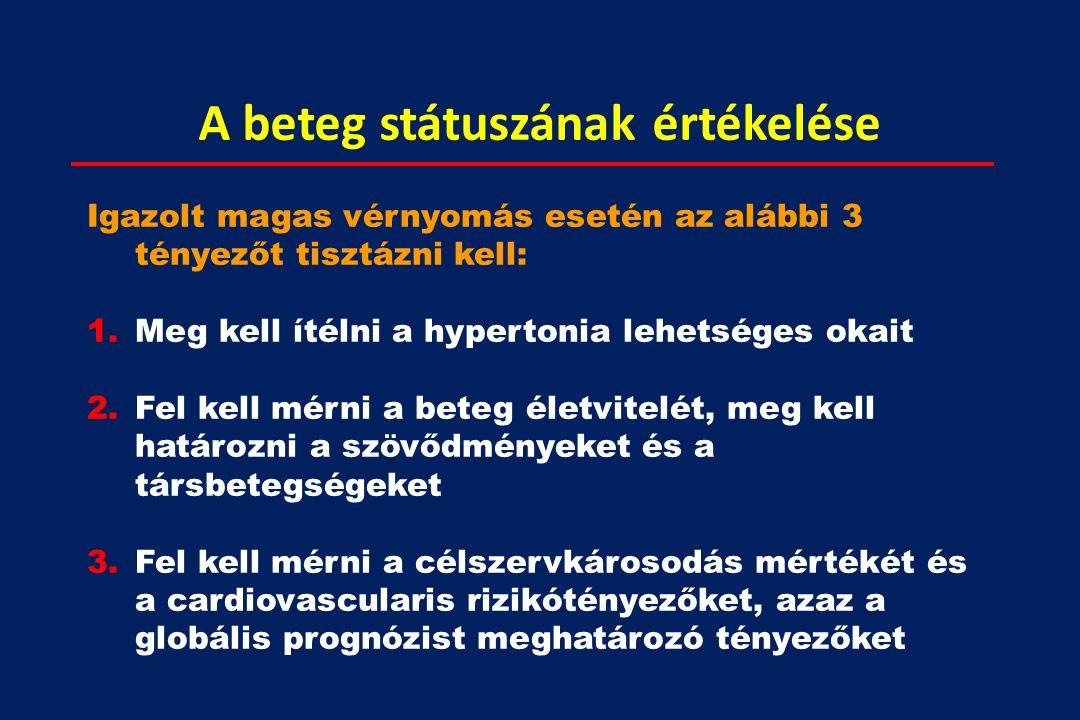 A beteg státuszának értékelése Igazolt magas vérnyomás esetén az alábbi 3 tényezőt tisztázni kell: 1.Meg kell ítélni a hypertonia lehetséges okait 2.Fel kell mérni a beteg életvitelét, meg kell határozni a szövődményeket és a társbetegségeket 3.Fel kell mérni a célszervkárosodás mértékét és a cardiovascularis rizikótényezőket, azaz a globális prognózist meghatározó tényezőket