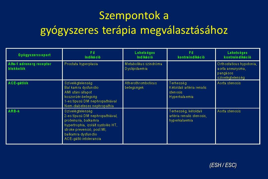 Szempontok a gyógyszeres terápia megválasztásához (ESH / ESC)
