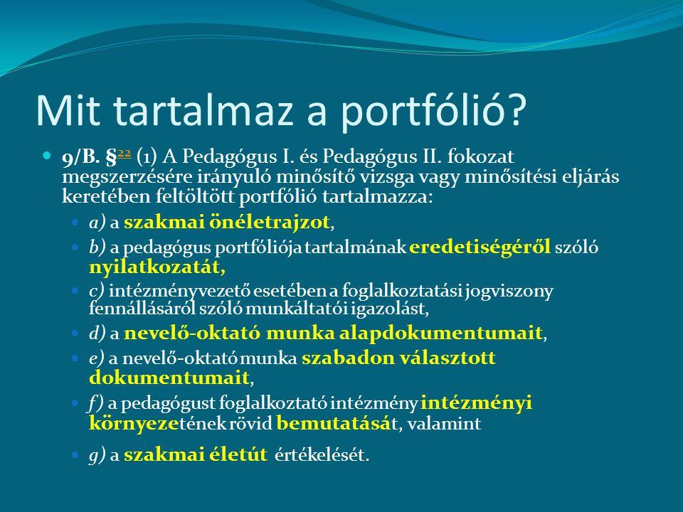 Mit tartalmaz a portfólió? 9/B. § 22 (1) A Pedagógus I. és Pedagógus II. fokozat megszerzésére irányuló minősítő vizsga vagy minősítési eljárás kereté