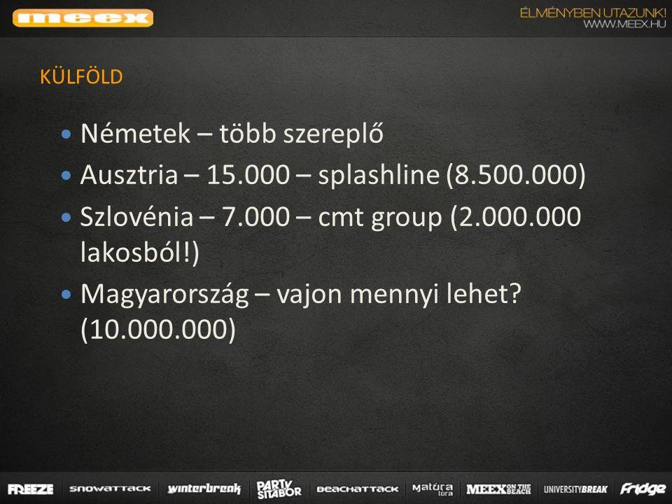 Németek – több szereplő Ausztria – 15.000 – splashline (8.500.000) Szlovénia – 7.000 – cmt group (2.000.000 lakosból!) Magyarország – vajon mennyi lehet.