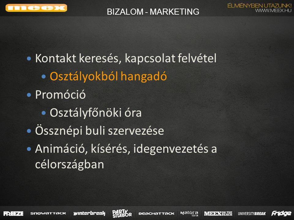 BIZALOM - MARKETING Kontakt keresés, kapcsolat felvétel Osztályokból hangadó Promóció Osztályfőnöki óra Össznépi buli szervezése Animáció, kísérés, idegenvezetés a célországban