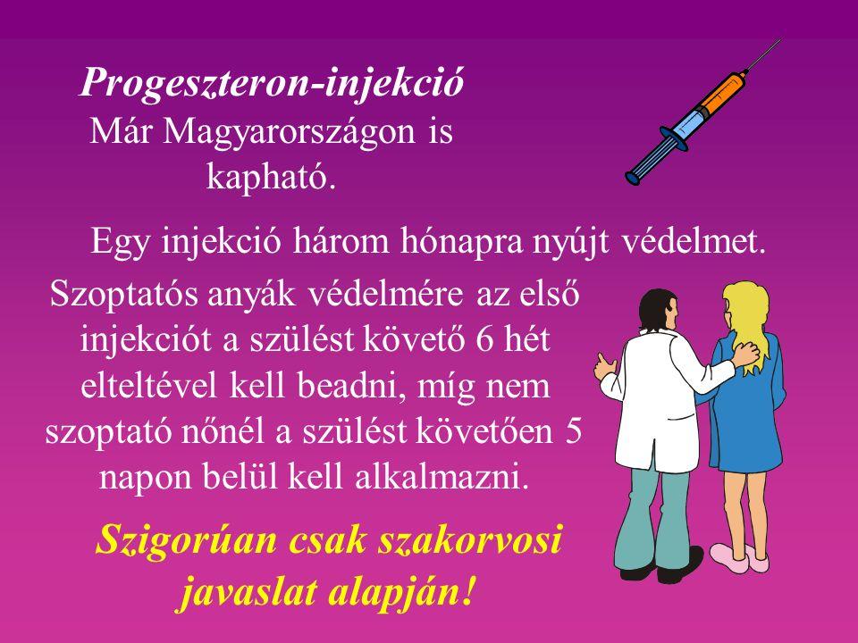 Progeszteron-injekció Már Magyarországon is kapható. Egy injekció három hónapra nyújt védelmet. Szigorúan csak szakorvosi javaslat alapján! Szoptatós