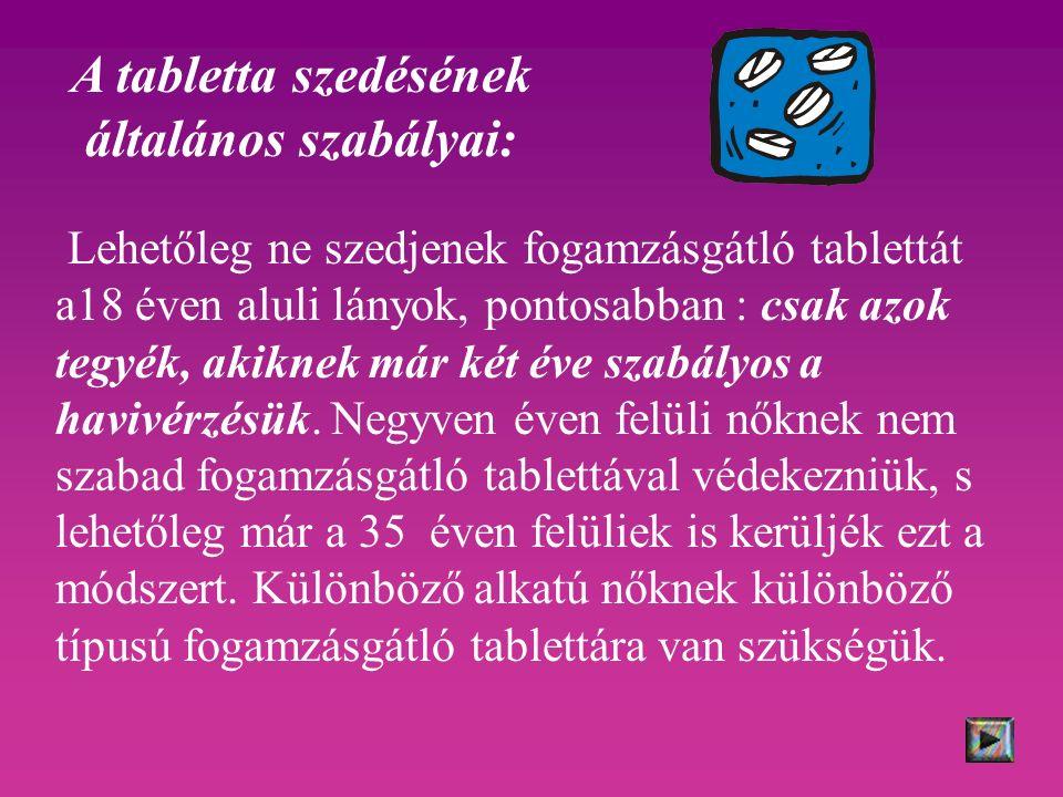 Lehetőleg ne szedjenek fogamzásgátló tablettát a18 éven aluli lányok, pontosabban : csak azok tegyék, akiknek már két éve szabályos a havivérzésük. Ne