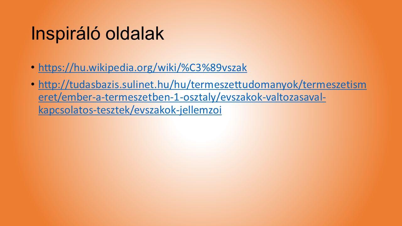 Inspiráló oldalak https://hu.wikipedia.org/wiki/%C3%89vszak http://tudasbazis.sulinet.hu/hu/termeszettudomanyok/termeszetism eret/ember-a-termeszetben