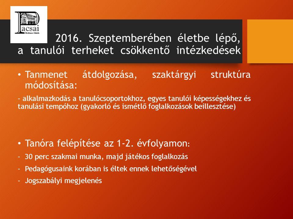 2016. Szeptemberében életbe lépő, a tanulói terheket csökkentő intézkedések Tanmenet átdolgozása, szaktárgyi struktúra módosítása: - alkalmazkodás a t
