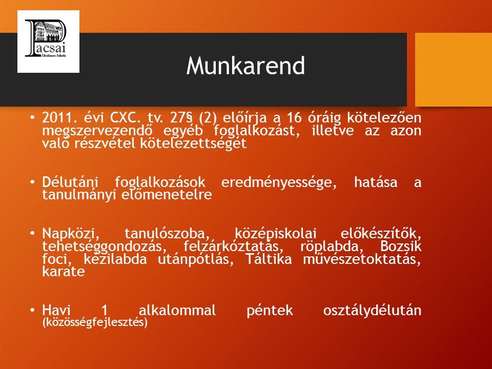 Munkarend 2011. évi CXC. tv. 27§ (2) előírja a 16 óráig kötelezően megszervezendő egyéb foglalkozást, illetve az azon való részvétel kötelezettségét D