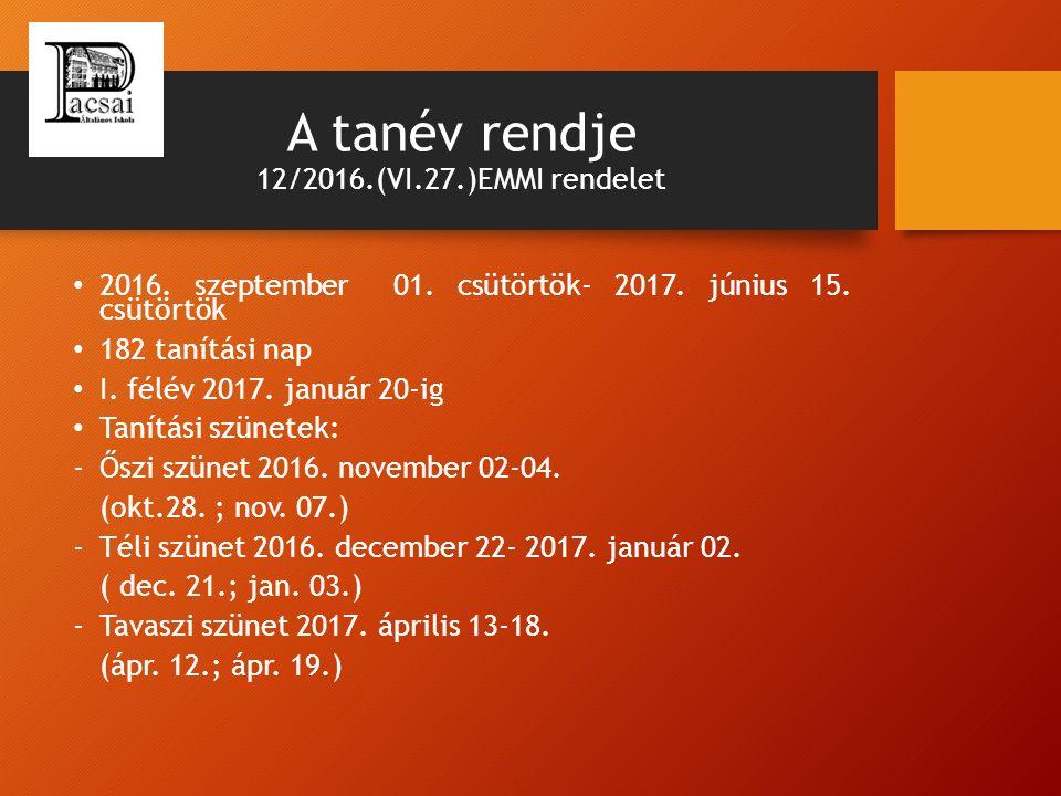 A tanév rendje 12/2016.(VI.27.)EMMI rendelet 2016. szeptember 01. csütörtök- 2017. június 15. csütörtök 182 tanítási nap I. félév 2017. január 20-ig T