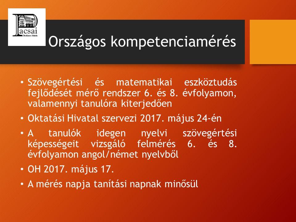 Országos kompetenciamérés Szövegértési és matematikai eszköztudás fejlődését mérő rendszer 6. és 8. évfolyamon, valamennyi tanulóra kiterjedően Oktatá
