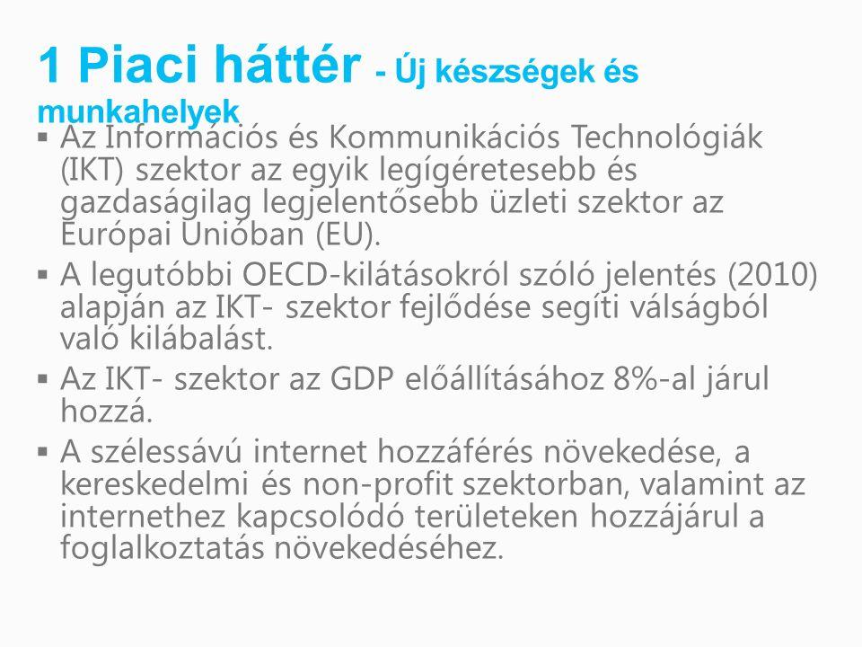 1 P iaci háttér - Új készségek és munkahelyek  Az Információs és Kommunikációs Technológiák (IKT) szektor az egyik legígéretesebb és gazdaságilag legjelentősebb üzleti szektor az Európai Unióban (EU).