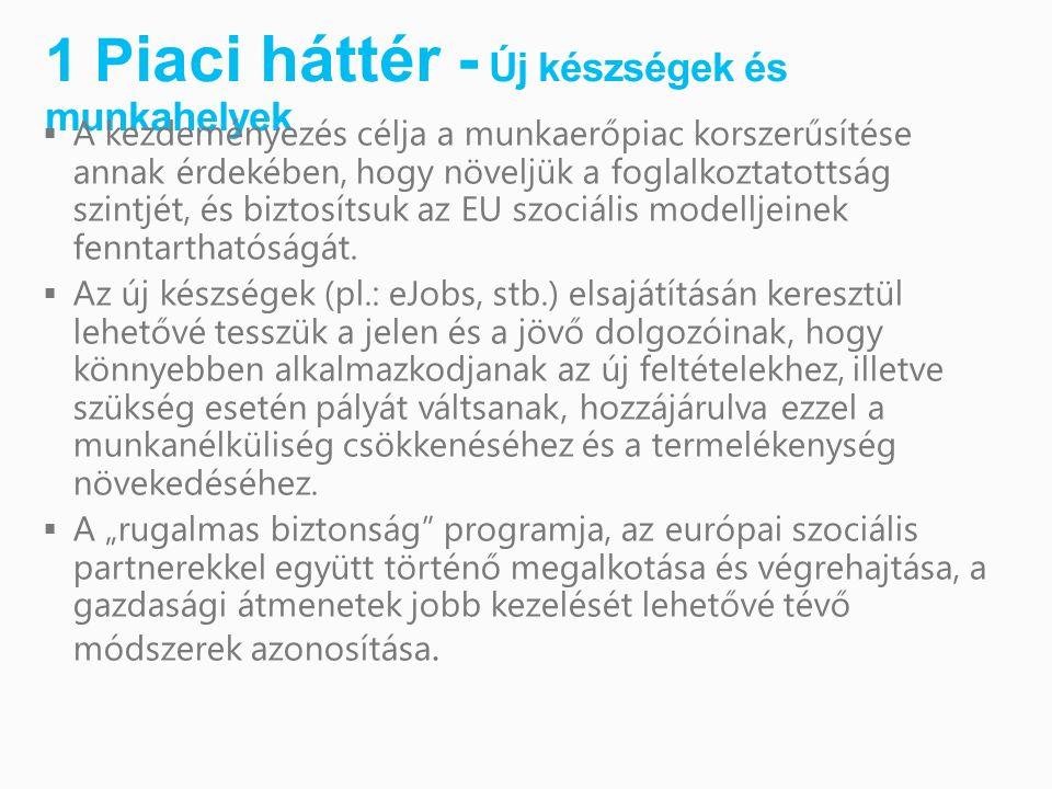 1 P iaci háttér - Új készségek és munkahelyek  A kezdeményezés célja a munkaerőpiac korszerűsítése annak érdekében, hogy növeljük a foglalkoztatottság szintjét, és biztosítsuk az EU szociális modelljeinek fenntarthatóságát.