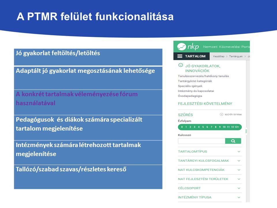 A PTMR felület funkcionalitása Jó gyakorlat feltöltés/letöltés Adaptált jó gyakorlat megosztásának lehetősége A konkrét tartalmak véleményezése fórum használatával Pedagógusok és diákok számára specializált tartalom megjelenítése Intézmények számára létrehozott tartalmak megjelenítése Tallózó/szabad szavas/részletes kereső