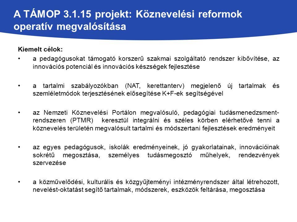 A TÁMOP 3.1.15 projekt: Köznevelési reformok operatív megvalósítása Kiemelt célok: a pedagógusokat támogató korszerű szakmai szolgáltató rendszer kibővítése, az innovációs potenciál és innovációs készségek fejlesztése a tartalmi szabályozókban (NAT, kerettanterv) megjelenő új tartalmak és szemléletmódok terjesztésének elősegítése K+F-ek segítségével az Nemzeti Köznevelési Portálon megvalósuló, pedagógiai tudásmenedzsment- rendszeren (PTMR) keresztül integrálni és széles körben elérhetővé tenni a köznevelés területén megvalósult tartalmi és módszertani fejlesztések eredményeit az egyes pedagógusok, iskolák eredményeinek, jó gyakorlatainak, innovációinak sokrétű megosztása, személyes tudásmegosztó műhelyek, rendezvények szervezése a közművelődési, kulturális és közgyűjteményi intézményrendszer által létrehozott, nevelést-oktatást segítő tartalmak, módszerek, eszközök feltárása, megosztása