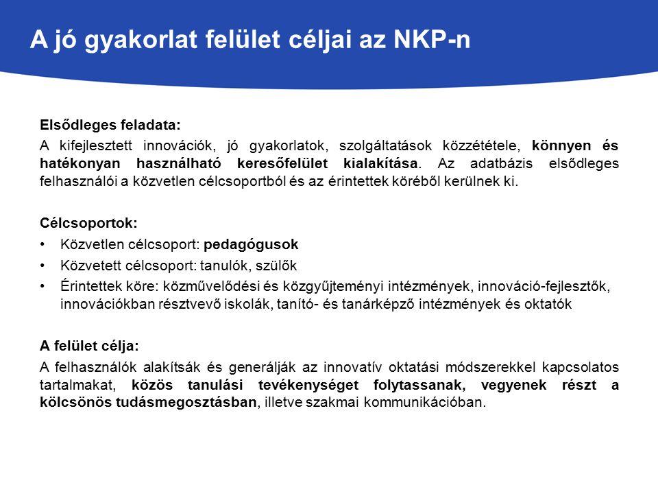 A jó gyakorlat felület céljai az NKP-n Elsődleges feladata: A kifejlesztett innovációk, jó gyakorlatok, szolgáltatások közzététele, könnyen és hatékonyan használható keresőfelület kialakítása.