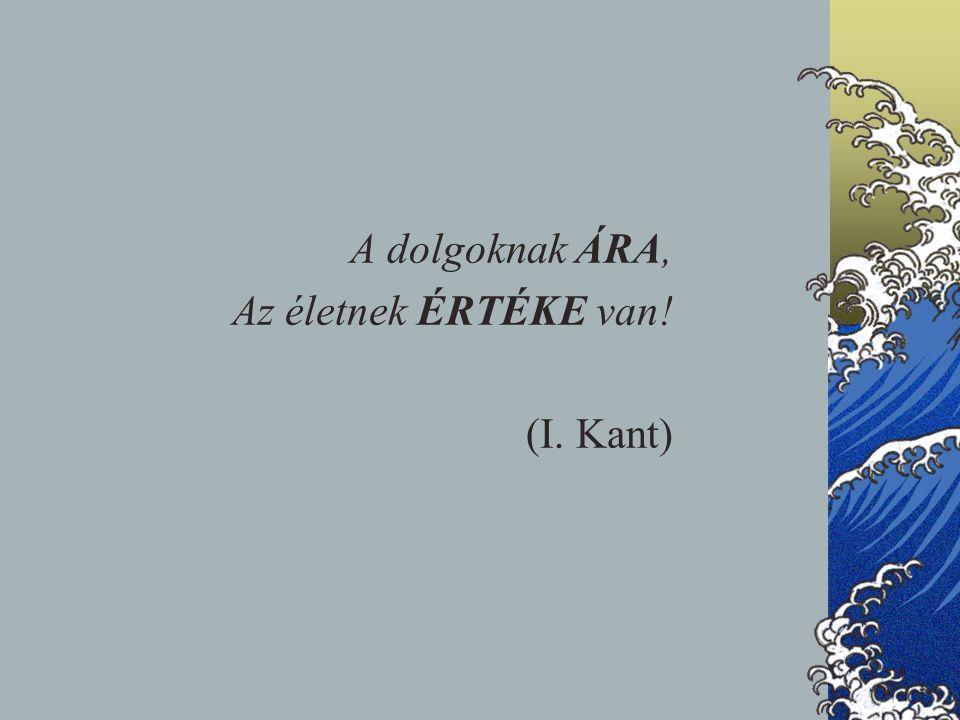 A dolgoknak ÁRA, Az életnek ÉRTÉKE van! (I. Kant)