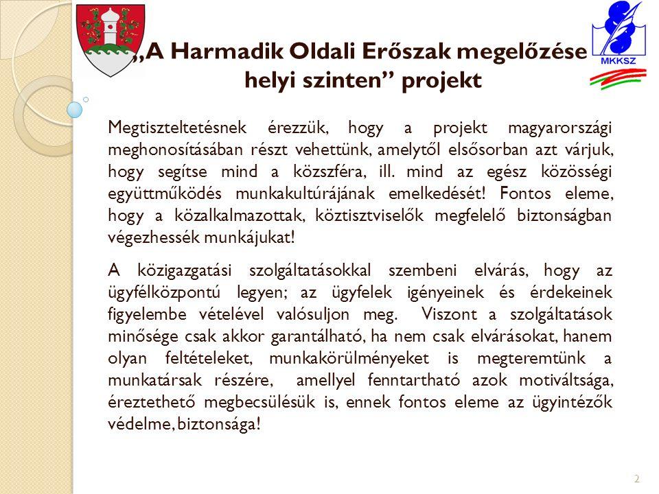 """""""A Harmadik Oldali Erőszak megelőzése helyi szinten projekt Megtiszteltetésnek érezzük, hogy a projekt magyarországi meghonosításában részt vehettünk, amelytől elsősorban azt várjuk, hogy segítse mind a közszféra, ill."""