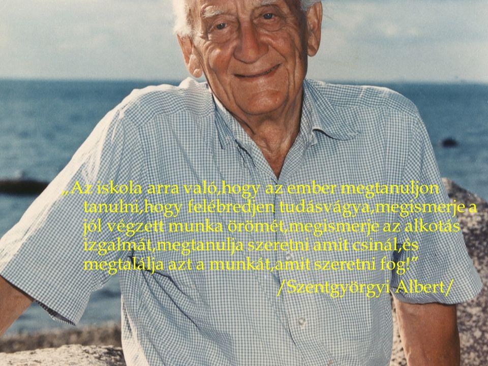 """""""Az iskola arra való,hogy az ember megtanuljon tanulni,hogy felébredjen tudásvágya,megismerje a jól végzett munka örömét,megismerje az alkotás izgalmát,megtanulja szeretni amit csinál,és megtalálja azt a munkát,amit szeretni fog! /Szentgyörgyi Albert/"""