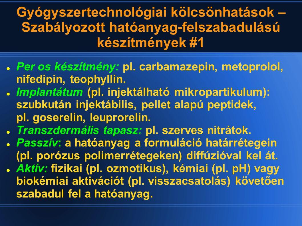 Gyógyszertechnológiai kölcsönhatások – Szabályozott hatóanyag-felszabadulású készítmények #1 Per os készítmény: pl. carbamazepin, metoprolol, nifedipi