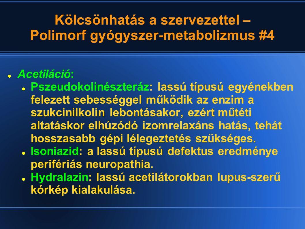 Kölcsönhatás a szervezettel – Polimorf gyógyszer-metabolizmus #4 Acetiláció: Pszeudokolinészteráz: lassú típusú egyénekben felezett sebességgel működi