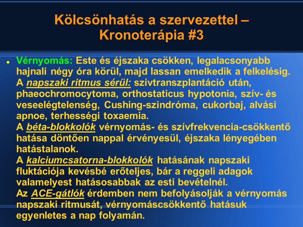 Kölcsönhatás a szervezettel – Kronoterápia #3 Vérnyomás: Este és éjszaka csökken, legalacsonyabb hajnali négy óra körül, majd lassan emelkedik a felke
