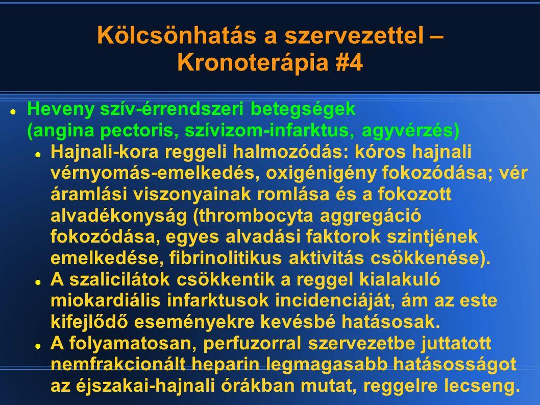 Kölcsönhatás a szervezettel – Kronoterápia #4 Heveny szív-érrendszeri betegségek (angina pectoris, szívizom-infarktus, agyvérzés) Hajnali-kora reggeli
