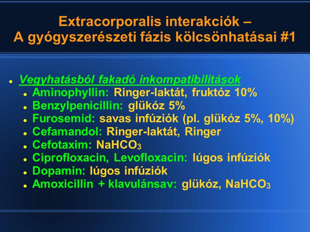 Extracorporalis interakciók – A gyógyszerészeti fázis kölcsönhatásai #2 Fényérzékenység Ciprofloxacin, Levofloxacin Molsidomin Nifedipin, Nimodipin Vegyes elegyíthetőségi inkompatibilitások Etakrinsav: vérkészítmények Methylprednisolon: NaCl 0.9%, ha c > 2.5 g/l; glükóz 5%, ha c > 5 g/l, Ringer-laktát, ha c > 500 mg/l Propafenon: NaCl 0.9% – hőmérséklet- és koncentrációfüggő kicsapódás